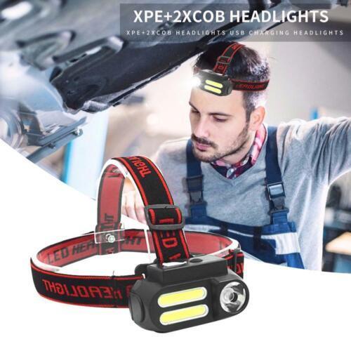 300 Lm COB XPE Micro-USB à nouveau Chargeable DEL Lampe Frontale Torche Lampe de poche ip44