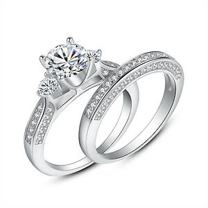 Womens Three Stone CZ Sterling Silver Wedding Engagement Ring Sets Size 5 -10