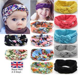 Baby-Girls-Turban-Knot-Twist-Headband-Hair-band-Head-Wrap-Cute-Kids-Floral-Plain