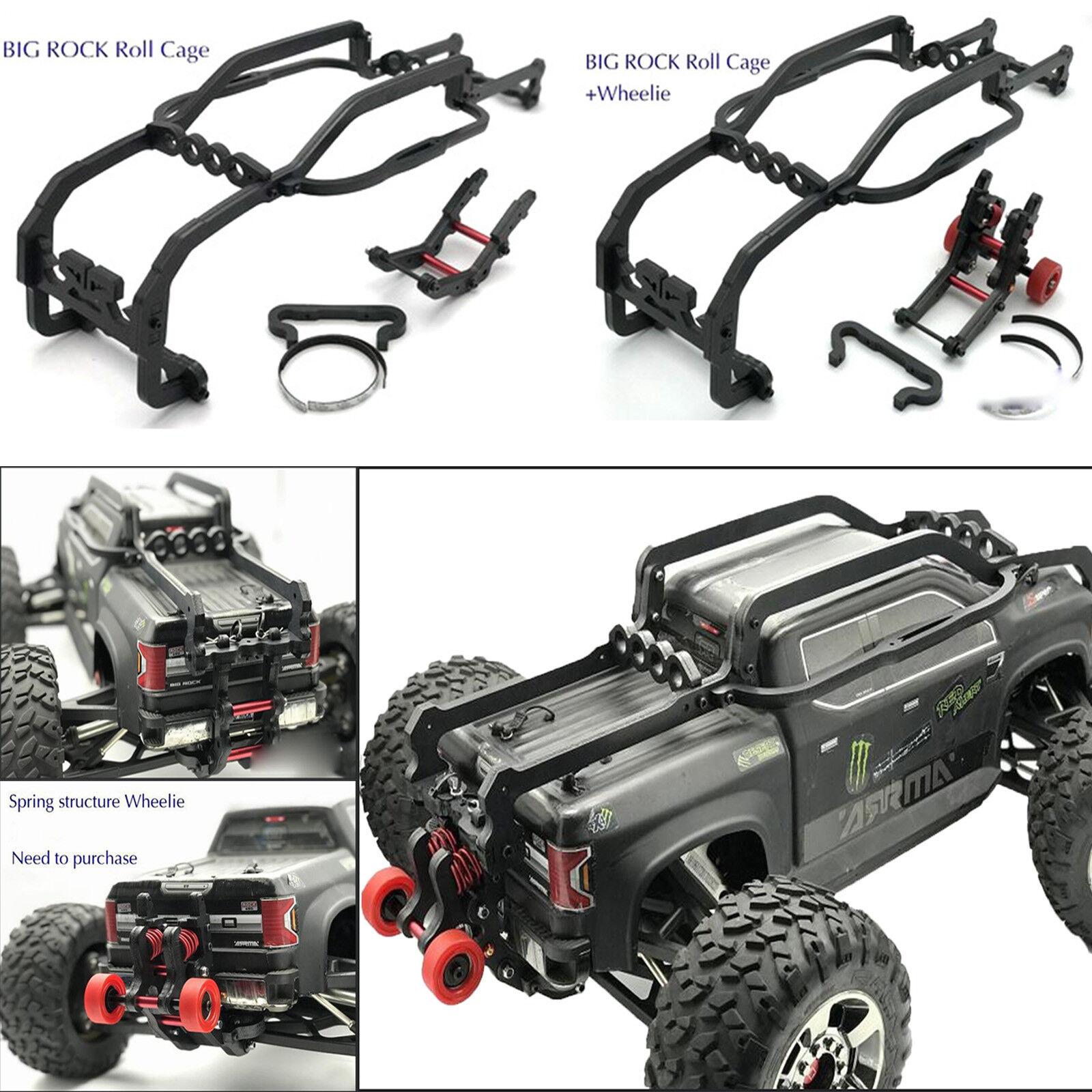 Para 1 8 Arrma negro Big Rock RC coche marco Body Shell Roll Cage Quilla + Wheelie Bar