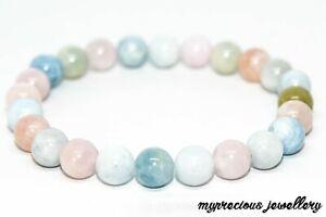 Natural Morganite Gemstone Bracelet Elasticated Healing Stone Reiki UK