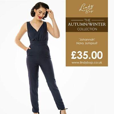 Lindy Bop /'Johannah/' BNWT Jumpsuit Vintage Inspired Super Classic Wrap Style