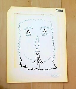 """PABLO PICASSO 12"""" x 9"""" -FACE-  SIGNED INK ON PAPER DRAWING"""
