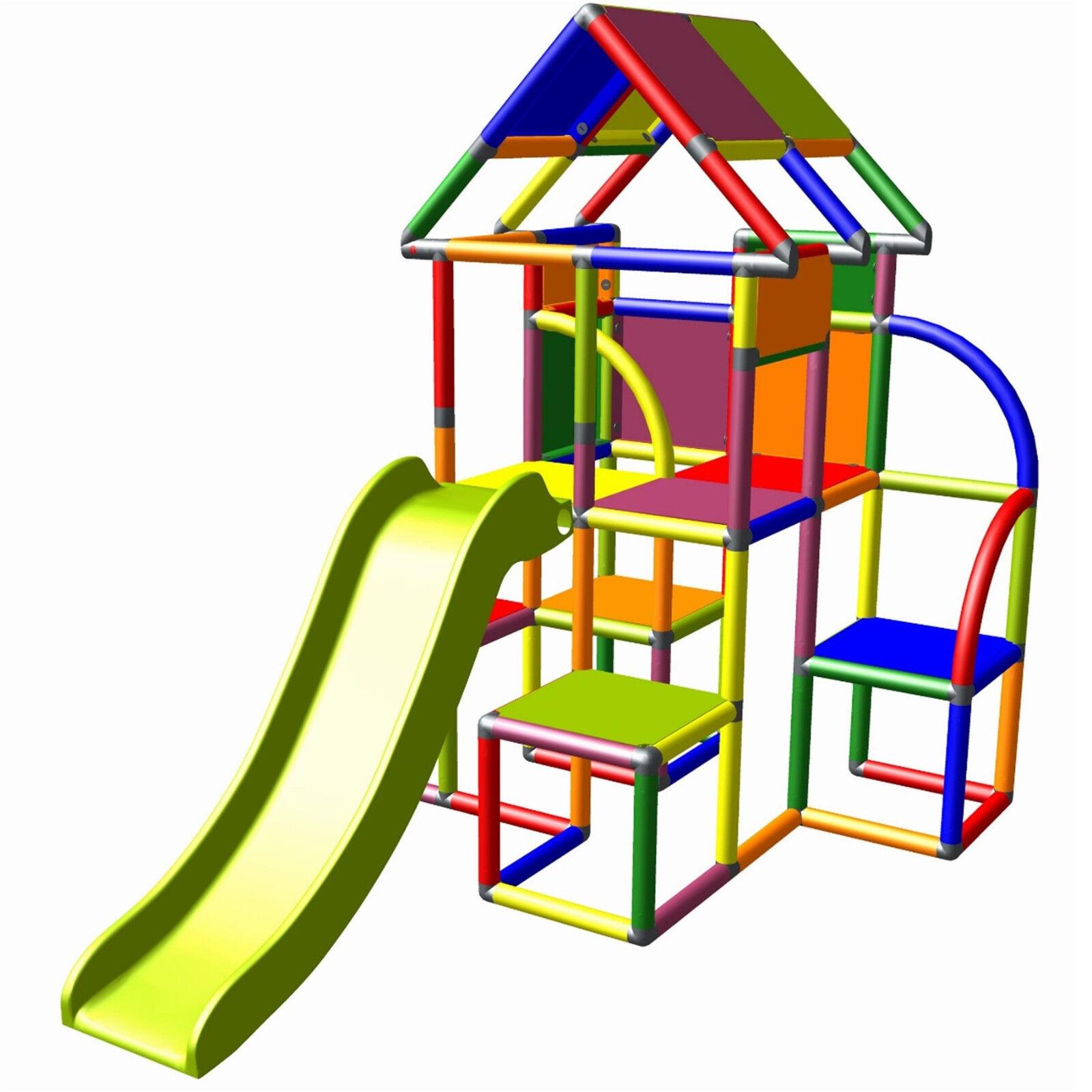Moveandstic Lina torre de juego con techo y tobogan Diogenes columpios multic