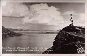 yg6-Real-Photo-Postcard-Grand-Coulee-Dam-WA-Lake-Franklin-D-Roosevelt