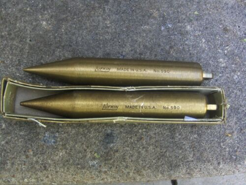2 RARE VINTAGE LUFKIN # 590 POINTED SOLID BRASS PLUMB BOB 20 OZ