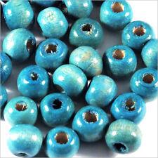 Lot de 100 perles rondes en Bois 8mm Bleu Turquoise