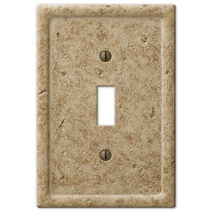 Image Is Loading Tumbled Travertine Textured Stone Noce Resin Switch Plate