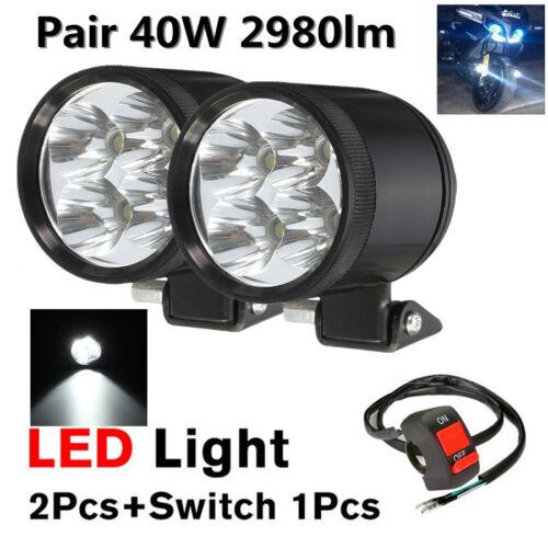 Paire 2X40W DEL Moto Drl Phare de conduite Brouillard Lumière Spot Lampe + Interrupteur