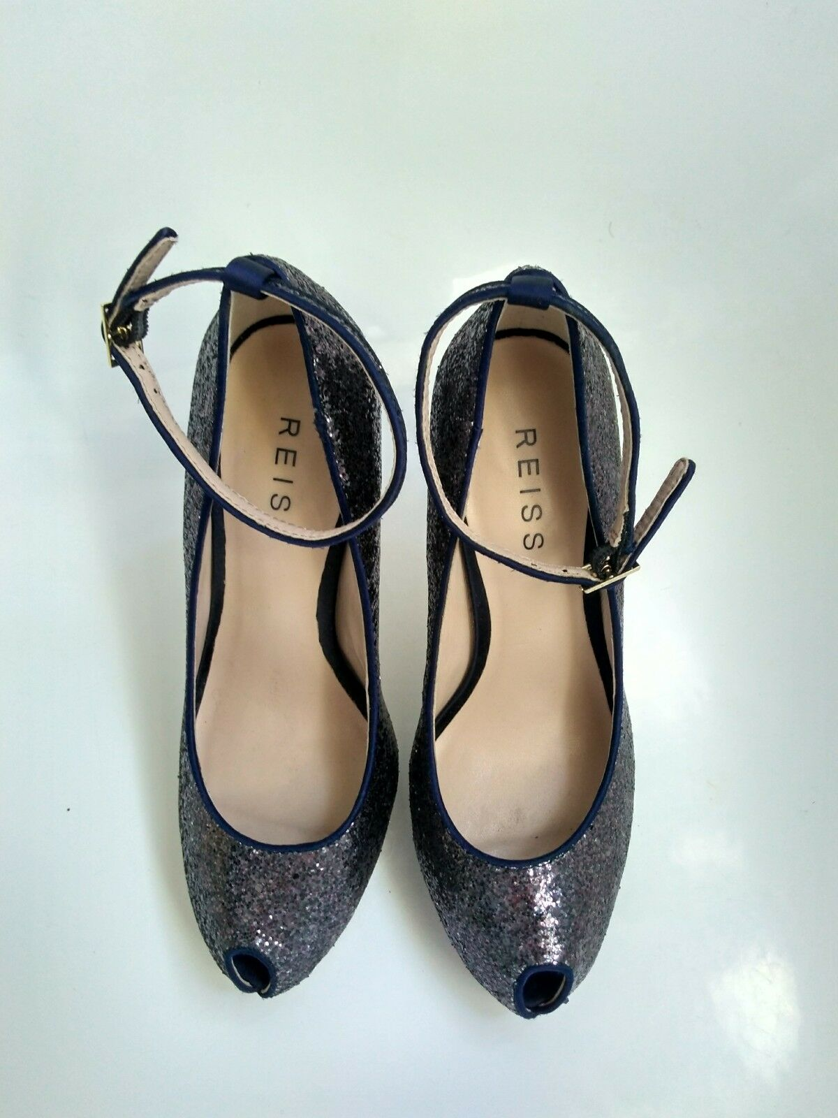 Designer UK4 REISS glitter peeptoe heels size 37 UK4 Designer --BRAND NEW-- wedding party 079749