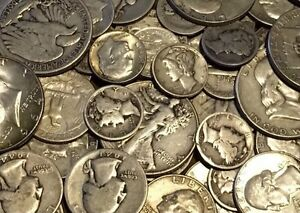 1-Face-Value-90-Silver-U-S-Coin-Lot-Half-Dollars-Quarters-or-Dimes