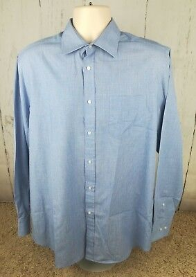 "Clothing, Shoes & Accessories Men's Thomas Nash Blue 16 1/2"" Collar Tailored Fit Long Sleeve Shirt Xl #i Shirts"