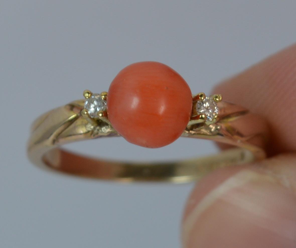 CORALLO IN oro 14 CARATI e anello di diamanti diamanti diamanti della trilogia Stack d0227 77420a