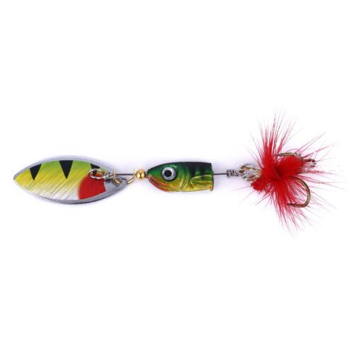 5PCS Spinner Spoon Bait 4.5cm//4.5g Metal Crankbait Fishing Lure Blade Trout Bass