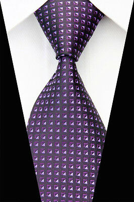 JA0599 Black Purple Striped Men's New Classic Jacquard Woven Silk Necktie Tie