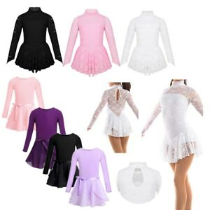 Kids-Girls-Ballet-Dance-Leotard-Dress-Ice-Skating-Dancewear-Costume-Tutu-Skirt