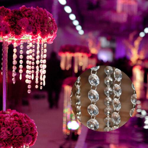1M Octagonal Bead Chain Crystal Acrylic Chandelier Part Home Ornament Decoration