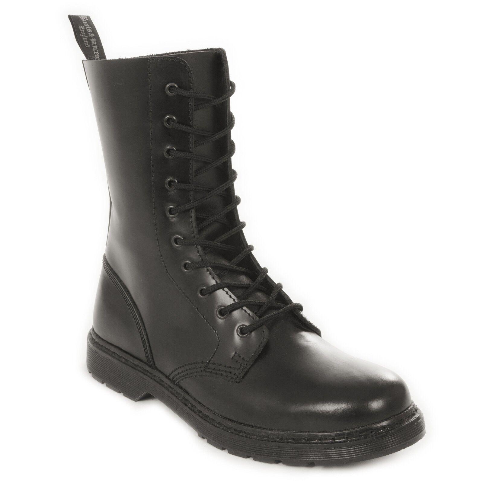 Boots & Braces - easy 10 Loch monochrom Black on Black Stiefel Rangers Schwarz