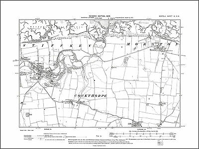 Langham Old map of Stiffkey Norfolk in 1906: 9NW repro Morston
