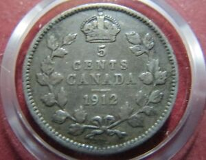 CANADA-Vintage-1912-King-George-V-5-CENTS-SILVER-COIN-Very-Fine-Coin