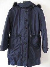 Burberry Brit Tallingford Down Coat Fox Fur Trim 3-in-1 Blue Parka Size 06 1495