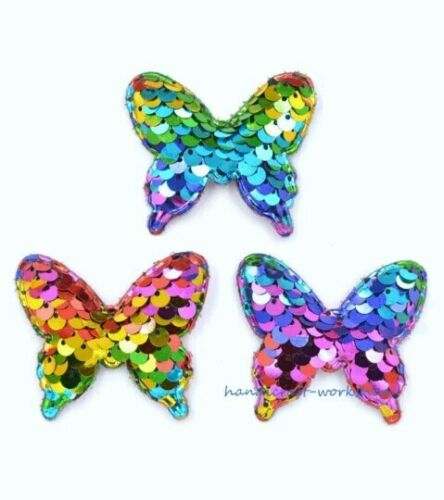 3PC Butterfly Patch Sew On Applique Padded Rainbow Sequin Crafts Cards Scrapbook