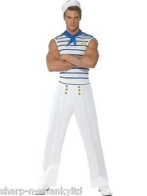 Adult Mens Sexy French Sailor Navy Military Uniform Fancy Dress Costume Outfit