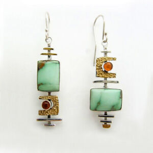 Vintage-925-Silver-Turquoise-Earring-Ear-Hook-Women-Wedding-Dangle-Drop-Jewelrys