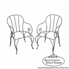 Antique Pair of Wrought Iron Garden Patio Arm Chair Frames