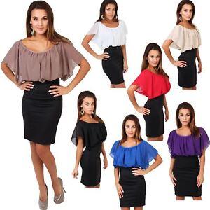Womens-Pleated-Chiffon-Batwing-Top-High-Waist-Pencil-Bodycon-Skirt-Mini-Dress