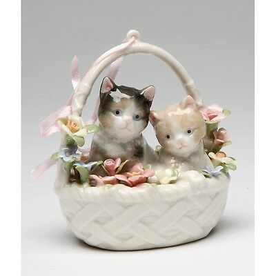 ♫ COSMOS Porcelain Music Box Figurine You Are My Sunshine Cat Kitten Basket