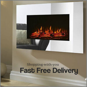 Swell Details About Large Mirrored Chrome Led Wall Mounted Electric Fireplace With Flame Effect 1 8K Interior Design Ideas Gentotthenellocom