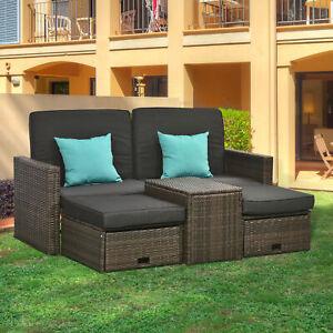 Outsunny 5pcs Outdoor Rattan Furniture Conversation Sofa Set Adjustable lounge