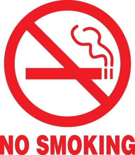 NO SMOKING Sign RED Vinyl Decal Sticker Circle CAR Window Outside Inside
