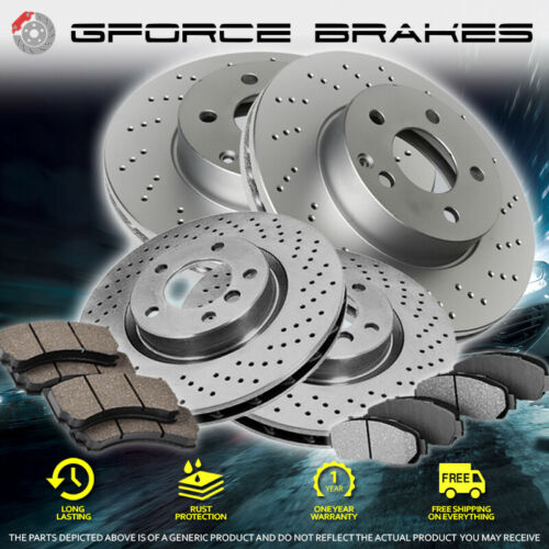 Front+Rear Cross Drilled Rotors /& Ceramic Pads for 2015-2019 Ford Transit-250