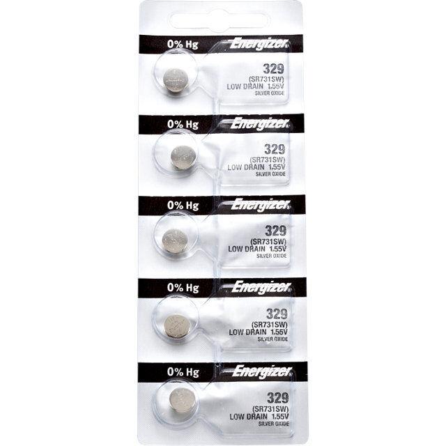 5 x Energizer 329 Watch Batteries, 0% MERCURY equivilate SR731SW