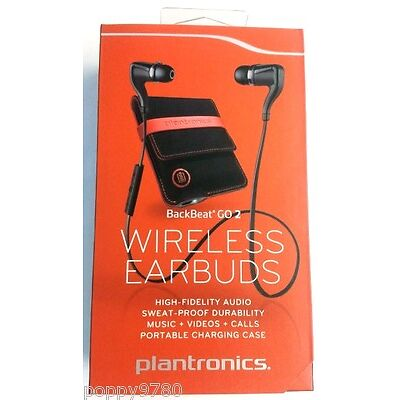 Plantronics BackBeat Go 2 Wireless Earbuds Bluetooth Charging Case Black Retail