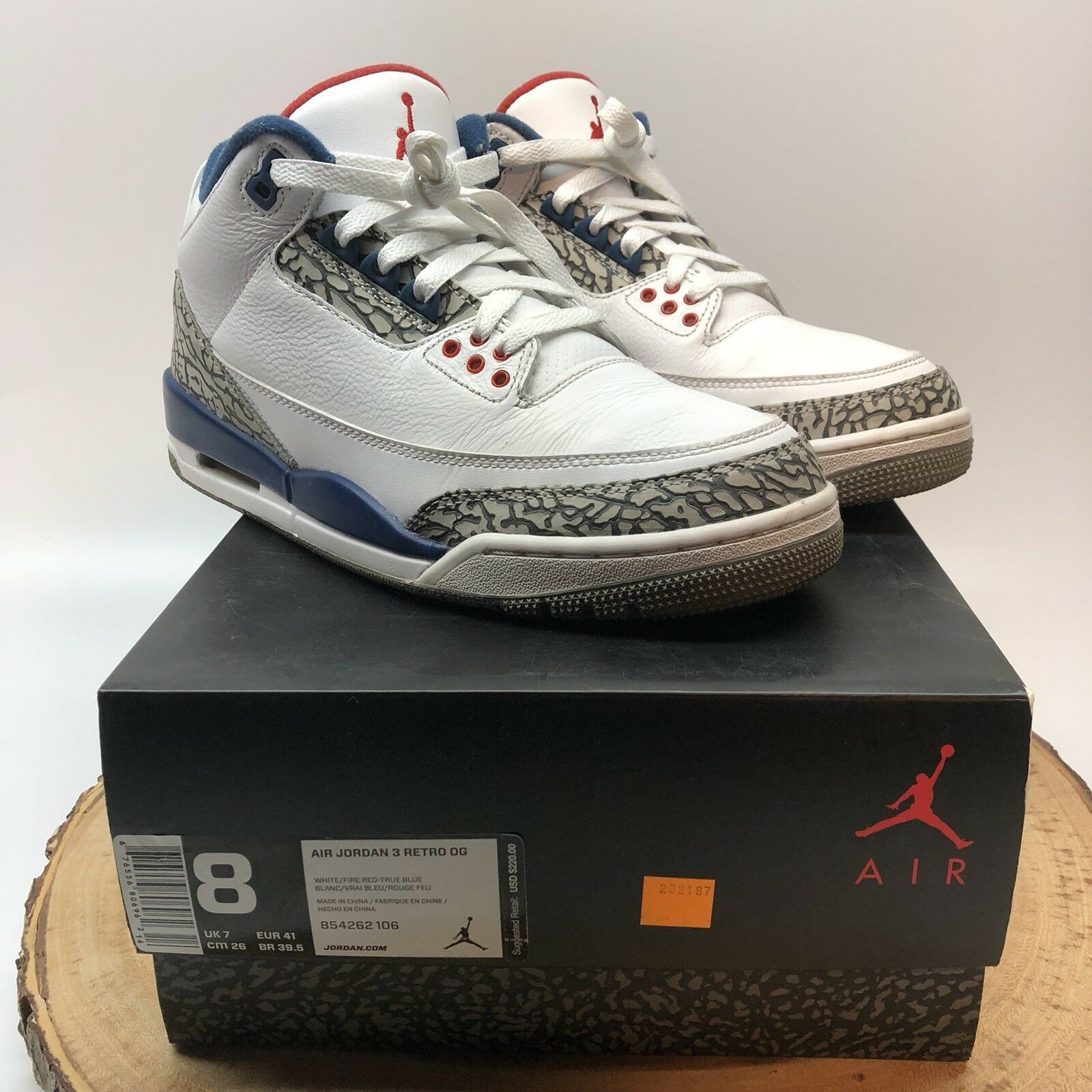 Nike Air Jordan Retro III OG True Blue OG 854262 106 Size 8 Fire Red Cement IV 2