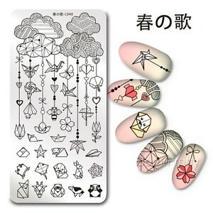Nail-Art-Stamping-Plate-Origami-Image-1Pc-Stamp-Template-Harunouta-L040