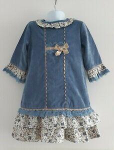 * Porté Une Fois * Alber Filles Floral Bleu Volants Robe Espagnole Traditionnelle ❤ 10 Ans-afficher Le Titre D'origine