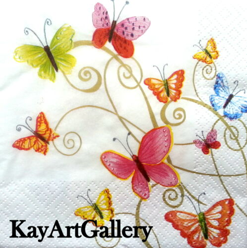 4 Single Vintage Table Paper Napkins Lunch Decoupage Napkin Butterflies Dance g5
