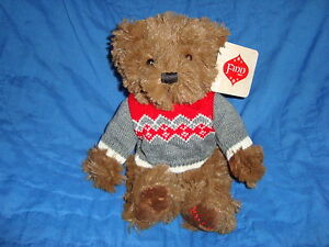 "Sears Christmas Plush and Beans Bear dated 2014 named FINN 9"" tall W/tags"