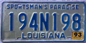GENUINE-1993-Louisiana-Sportsmans-Paradise-License-Licence-Number-Plate-194N198