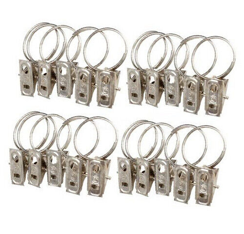 10PCS//SET METAL CURTAIN POLE ROD VOILE NET RINGS WITH CLIPS CLAMPS HANGING NEW