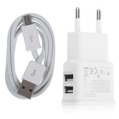 2A Dual EU USB Wall AC Adapter + Micro USB Charger Cable For Samsung Galaxy LG S
