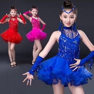 baf134b56eb0 Image is loading Bright-Girls-Modern-dance-Dress-Kids-Performance-Rumba-