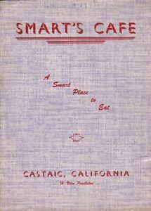 Vintage SMART'S CAFE Restaurant Menu Castaic California 1950