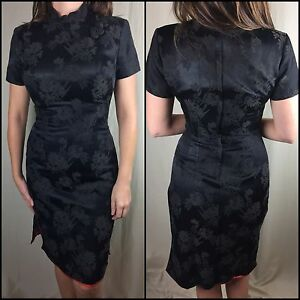True Vintage 60s 70s Women's Qipao Cheongsam Chinese Black Dress Gown Size 13