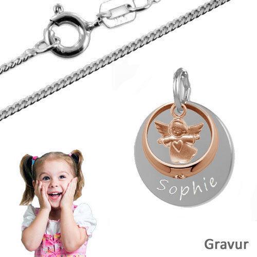 Taufkette,Kinderkette,Gravur Platte mit Taufring Schutzengel-Silber925,Gravur