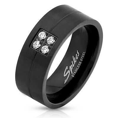 Four CZ Gems Brushed Black IP Stainless Steel Wedding Band Mens Ring